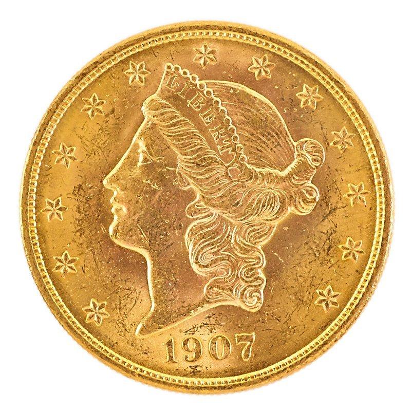 U.S. 1907 LIBERTY HEAD GOLD $20.00 COIN