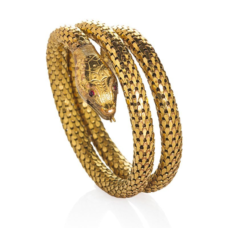 WHITING AND DAVIS COILED SERPENT BRACELET