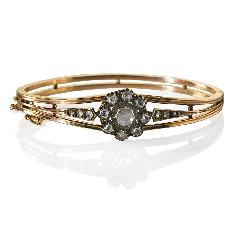 VICTORIAN ROSE CUT DIAMOND, YELLOW GOLD HINGED BRACELET
