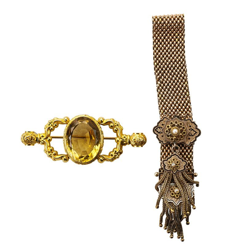 VICTORIAN GOLD GARTER BRACELET AND CITRINE BROOCH