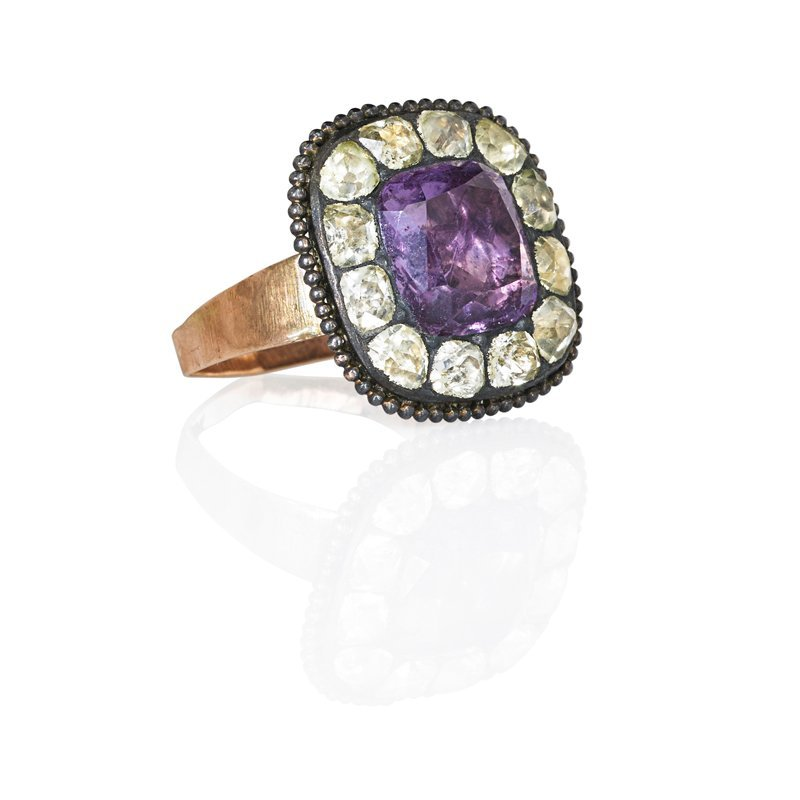 GEORGIAN FOIL BACKED AMETHYST AND PASTE RING
