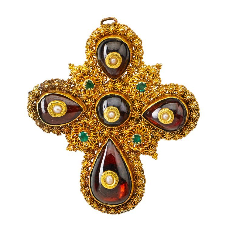 YELLOW GOLD CANNETILLE GEM-SET CROSS BROOCH
