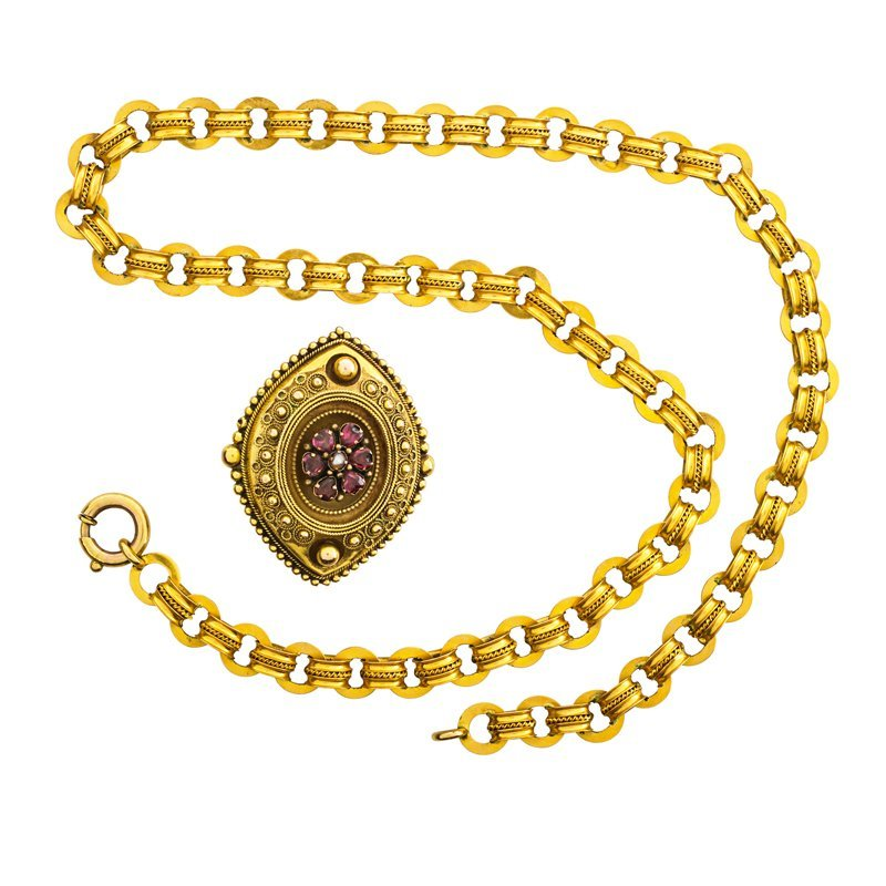 VICTORIAN ETRUSCAN REVIVAL YELLOW GOLD JEWELRY