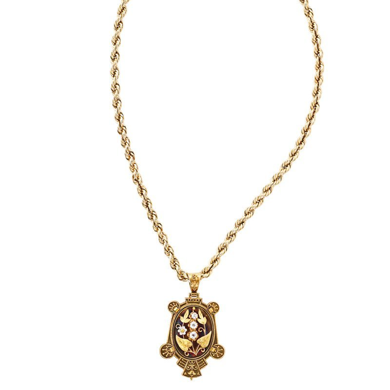 ARCHAEOLOGICAL REVIVAL GOLD DIAMOND LOCKET, CHAIN