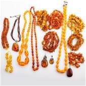 COLLECTION OF CHINESE OR BALTIC AMBER JEWELRY