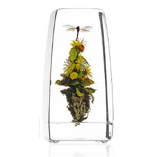 PAUL STANKARD Tall glass Botanical paperweight