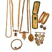 COLLECTION OF VICTORIAN GOLD FILLED COIN JEWELRY