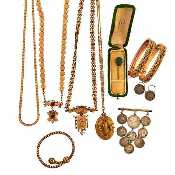COLLECTION OF VICTORIAN GOLD FILLED, COIN JEWELRY
