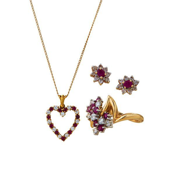 COLLECTION OF RUBY AND DIAMOND 14K GOLD JEWELRY