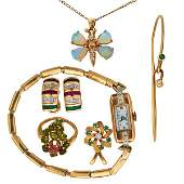 COLLECTION OF YELLOW GOLD AND GEMSET JEWELRY