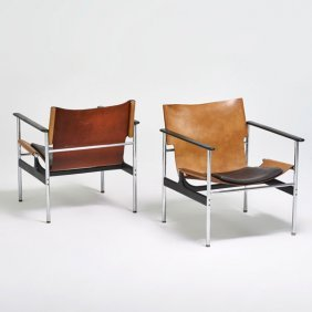 Pair of knoll barcelona chairs with ottoman lot 4045 for Knoll associates