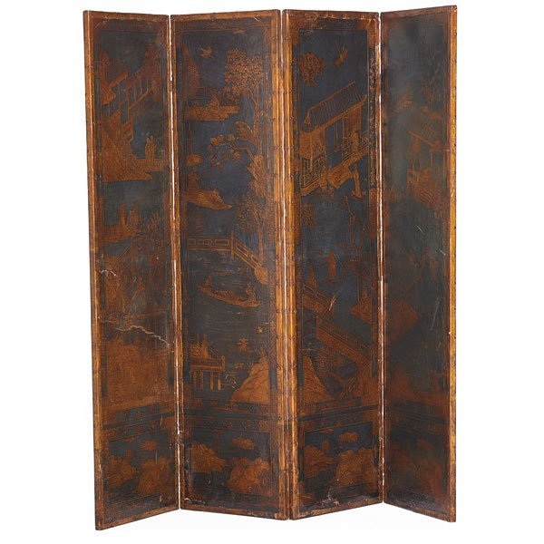 DUTCH EMBOSSED LEATHER FOUR PANEL SCREEN