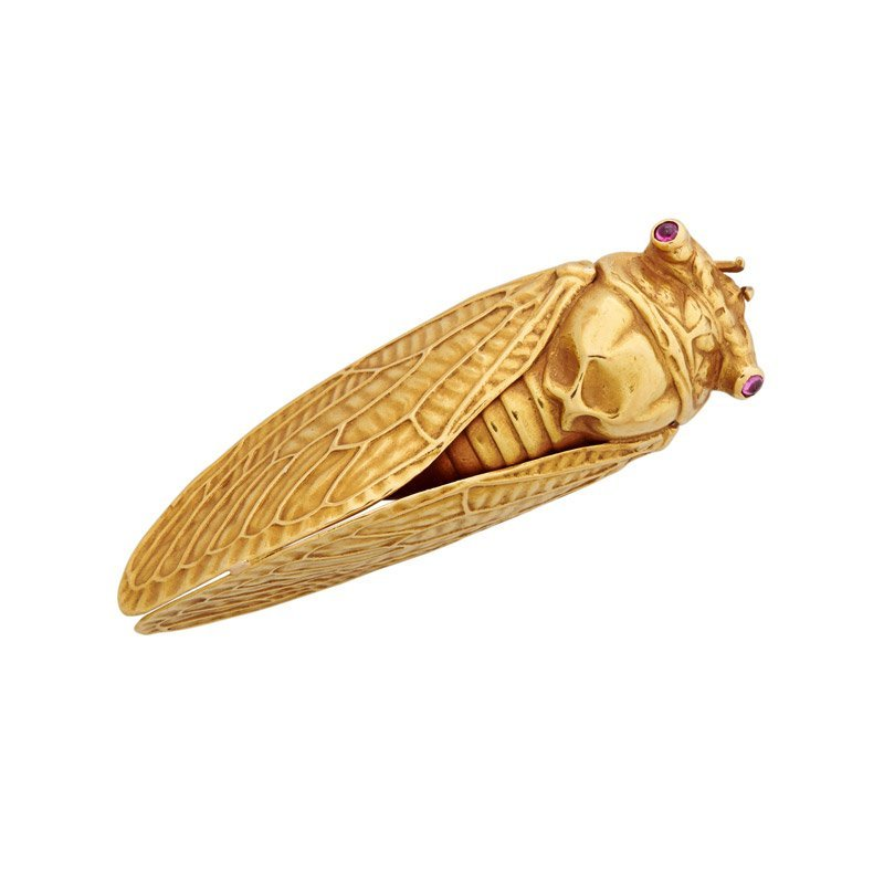 FRENCH JAPANESQUE GOLD CICADA BROOCH