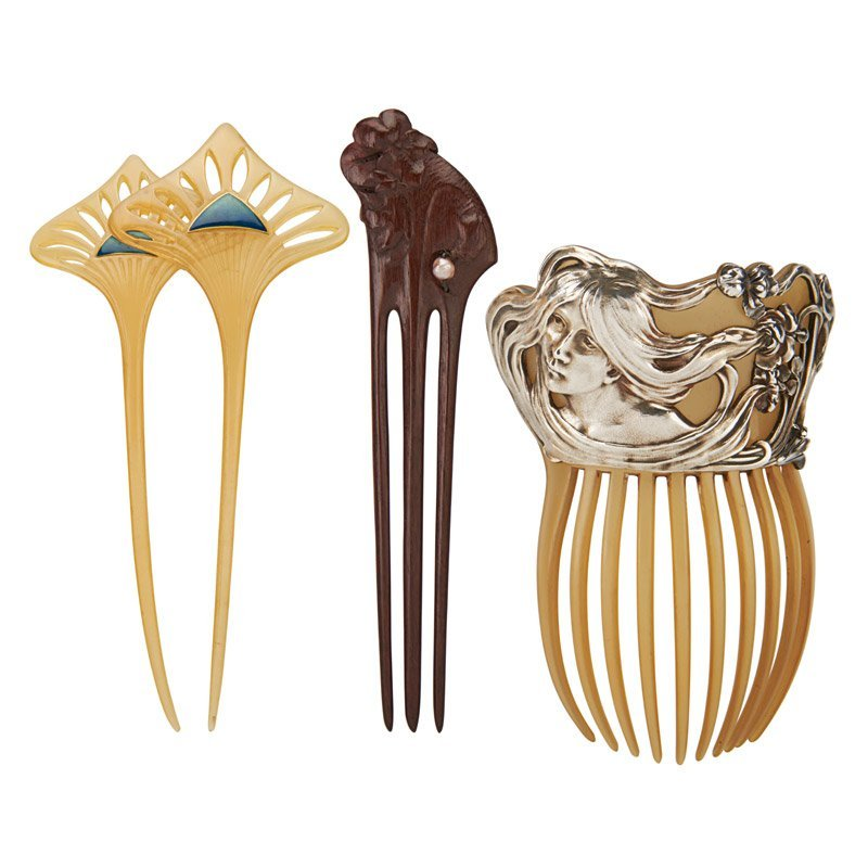 THREE FRENCH ART NOUVEAU COMBS: VEVER,  GAILLARD, ETC.