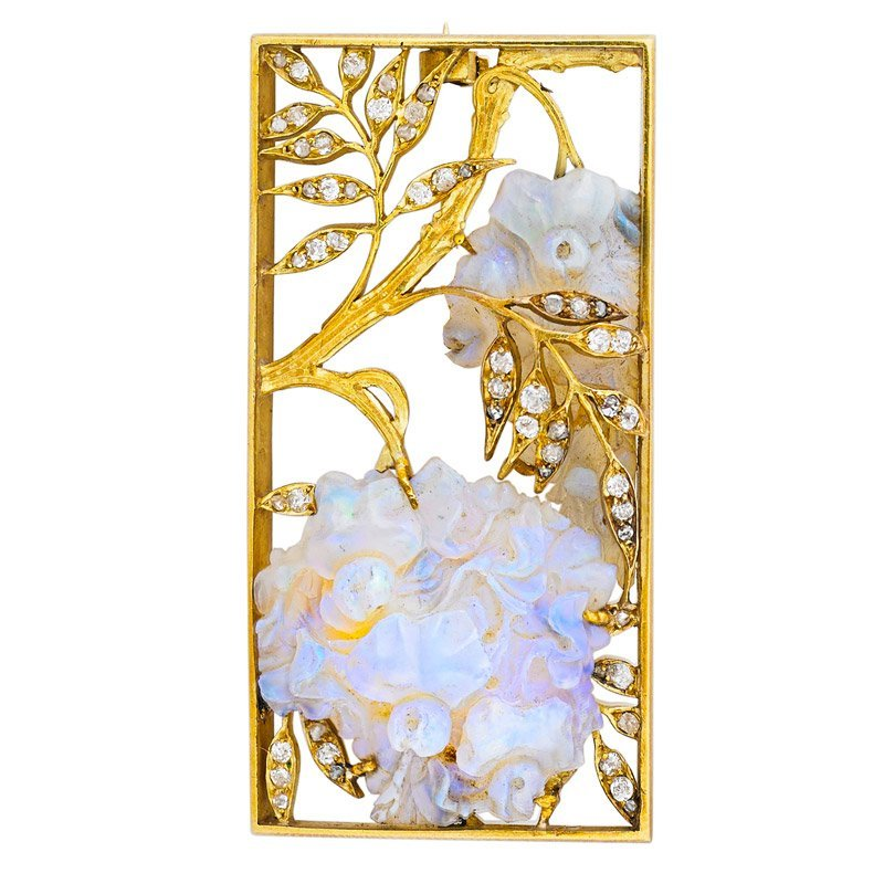 "ART NOUVEAU ""WISTERIA"" OPAL & DIAMOND PANEL BROOCH"