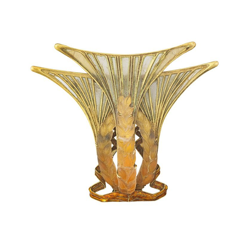 ART NOUVEAU PLIQUE-A-JOUR PRESSED GLASS GOLD JEWEL