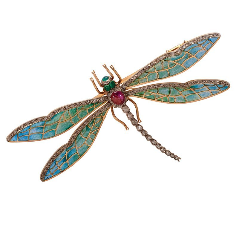 ART NOUVEAU PLIQUE-A-JOUR JEWELED GOLD DRAGONFLY