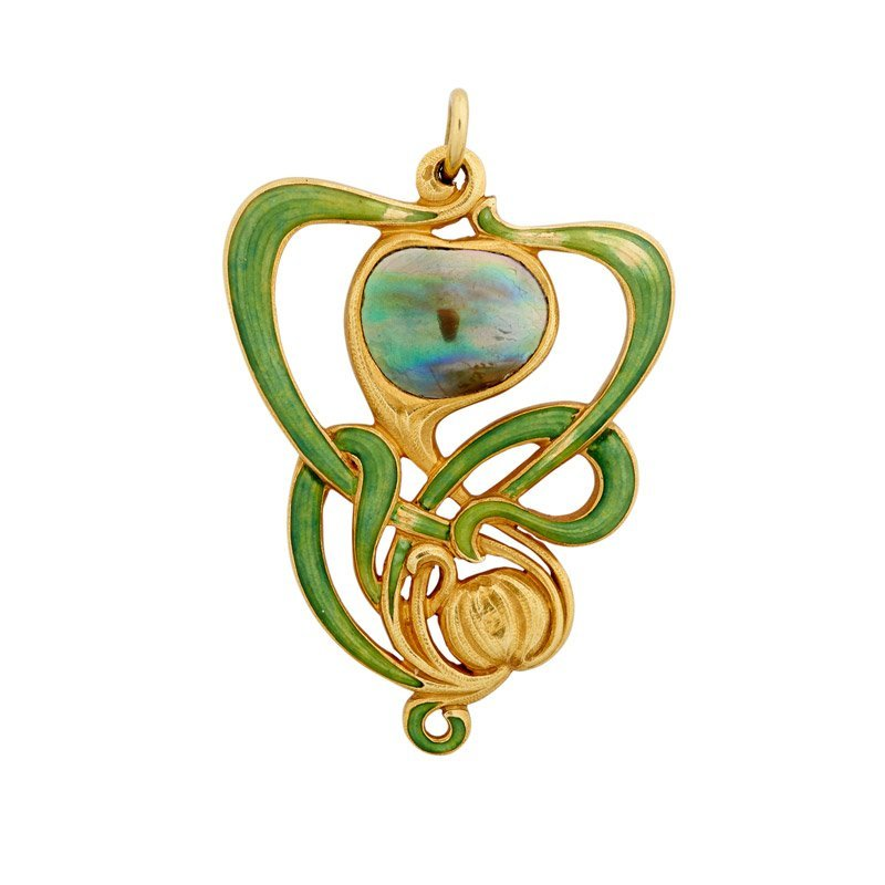 EDWARD COLONNA ENAMELED GOLD ART NOUVEAU PENDANT