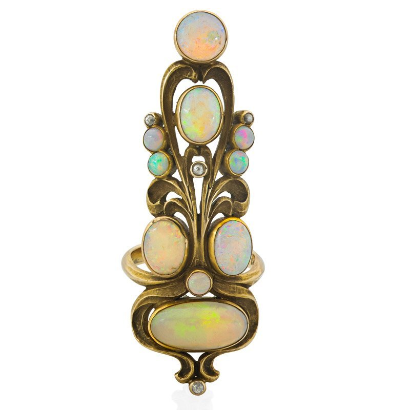 ART NOUVEAU OPAL & DIAMOND GOLD INDEX FINGER RING