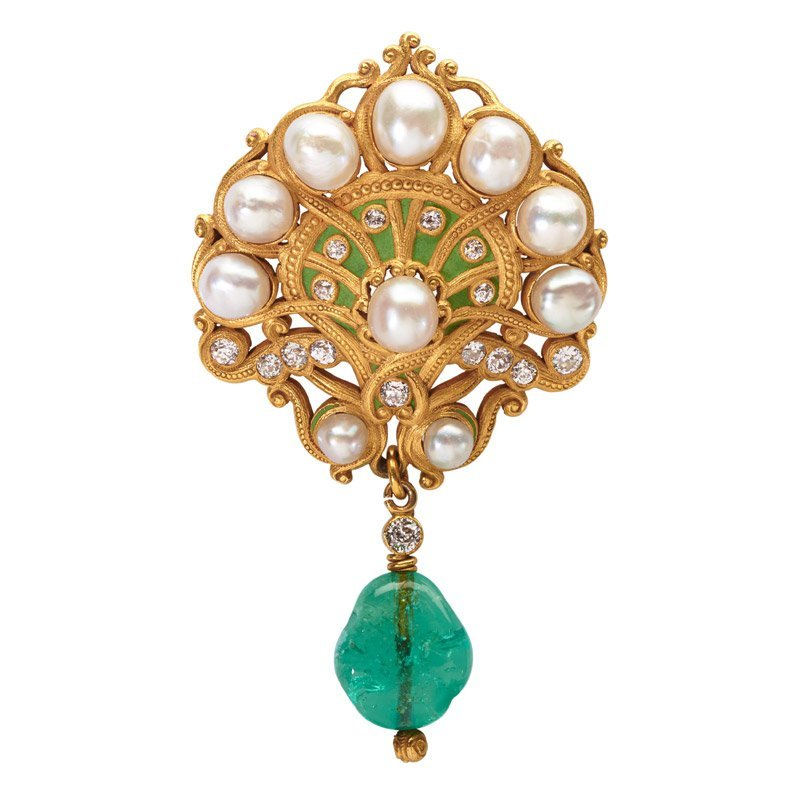 MARCUS ART NOUVEAU JEWELED ENAMELED GOLD BROOCH