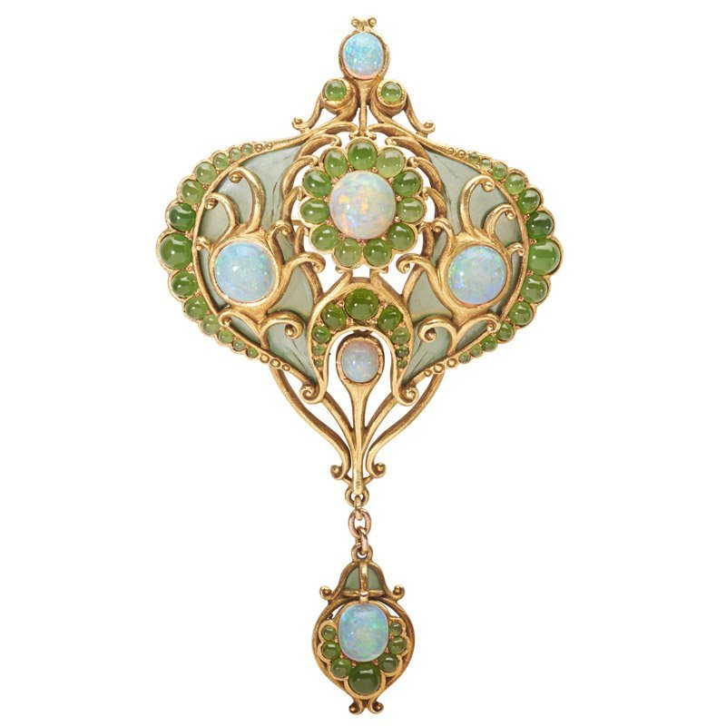 MARCUS PLIQUE-A-JOUR & JEWELED GOLD PENDANT, BROOCH