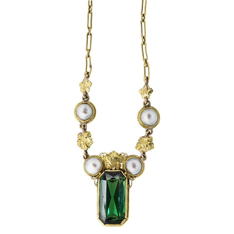 ARTS & CRAFTS TOURMALINE & PEARL 18K GOLD NECKLACE