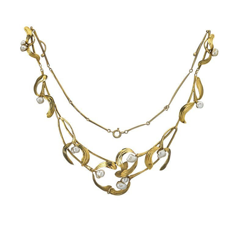 ART NOUVEAU 18K GOLD PEARL MISTLETOE NECKLACE