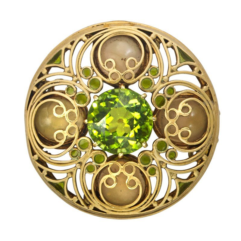 LOUIS COMFORT TIFFANY GEM-SET ENAMELED GOLD BROOCH