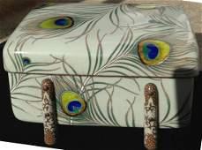 MEIJI PEACOCK FEATHER CLOISONNE BOX, K. SHIBATARO