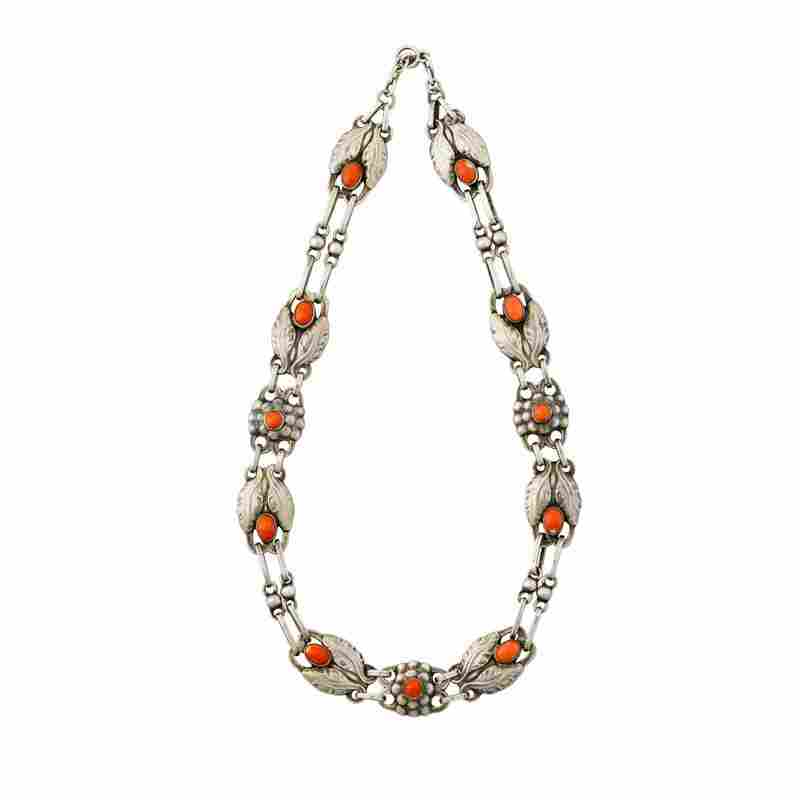 GEORG JENSEN #1 NECKLACE 830 SILVER AND CORAL