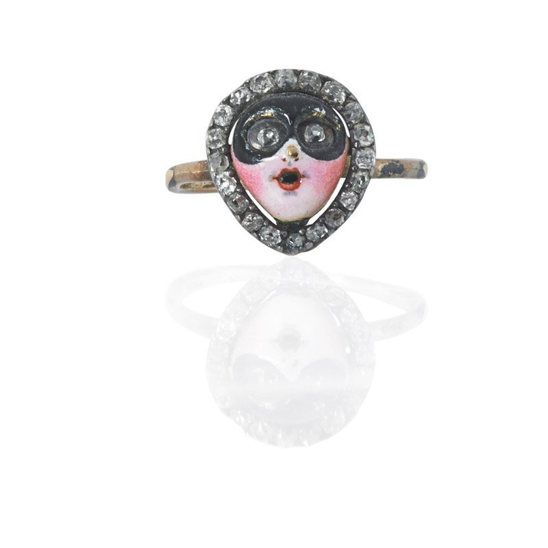 GEORGIAN MASQUERADE JEWELED AND ENAMELED GOLD RING