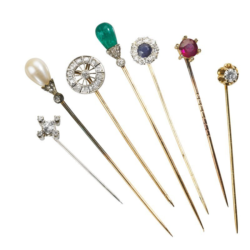 SEVEN PRECIOUS GEMSTONE AND DIAMOND STICKPINS