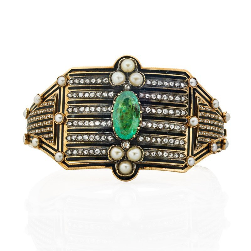 VICTORIAN ENAMELED 14K GOLD EMERALD DIAMOND HINGED CUFF