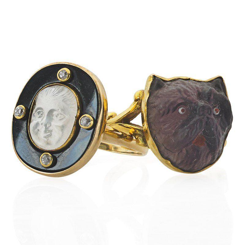 TWO EDWARDIAN GEMSTONE, NOVELTY CAMEO & GOLD RINGS
