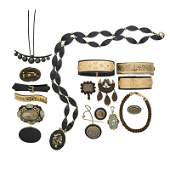 COLLECTION OF VICTORIAN MOURNING JEWELRY INCL GOLD