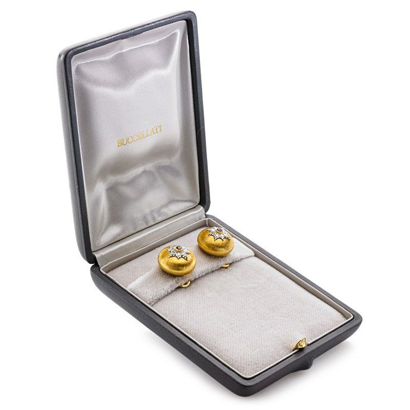 TWO PAIRS BUCCELLATI 18K GOLD CONVEX EARRINGS