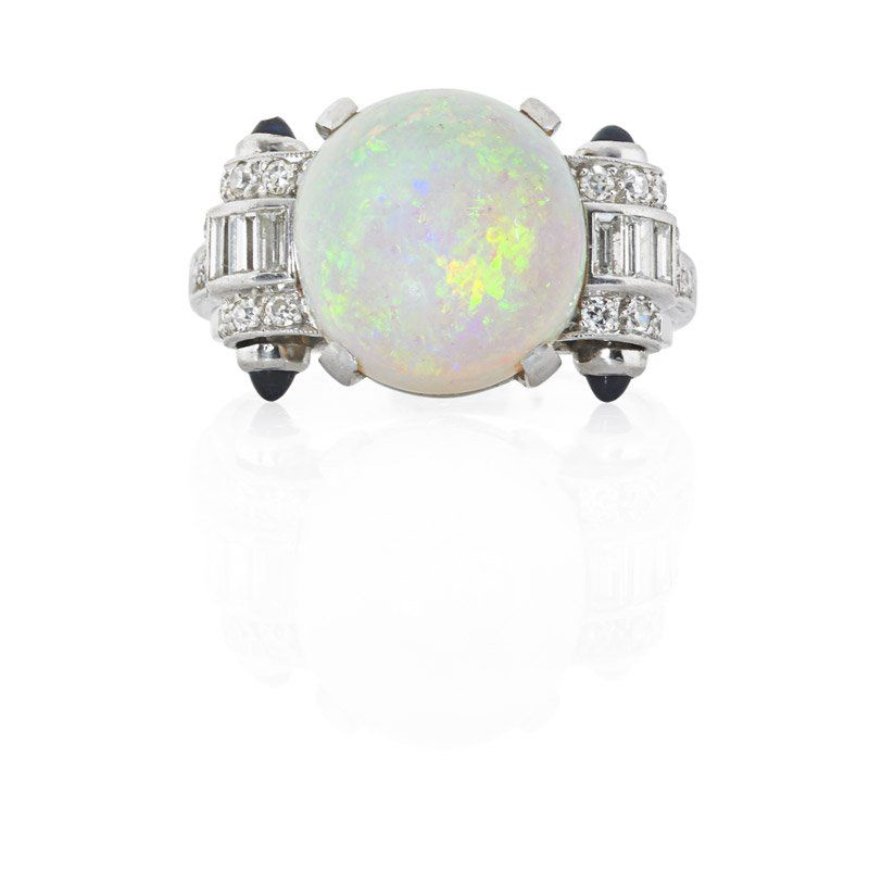 ART DECO OPAL AND DIAMOND PLATINUM RING