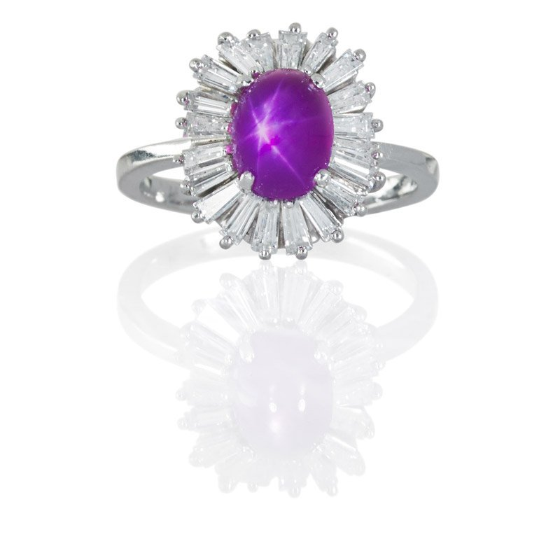 3.02 CTS BURMA STAR RUBY AND DIAMOND PLATINUM RING