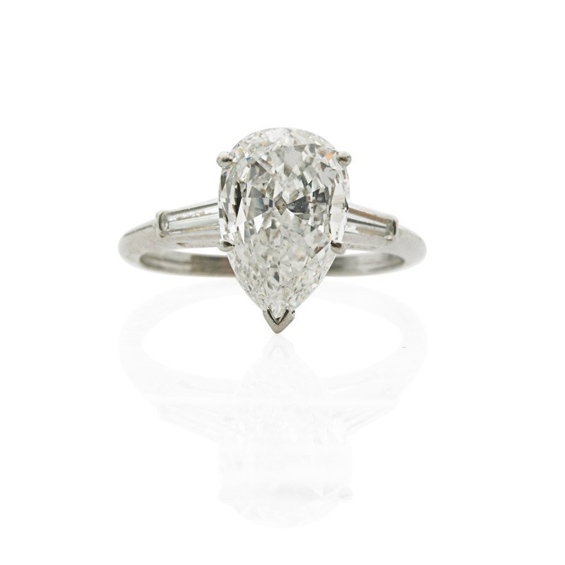 2.38 CTS PEAR SHAPED DIAMOND PLATINUM SOLITAIRE RING