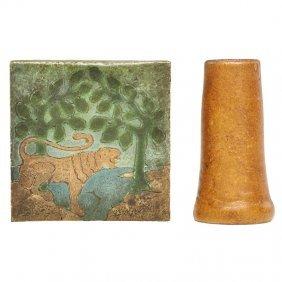 Grueby Bud Vase And Tile