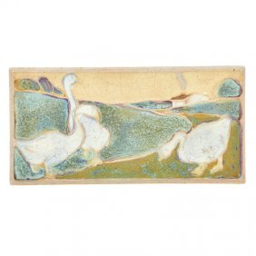 Rookwood Rare Faience Tile With Geese