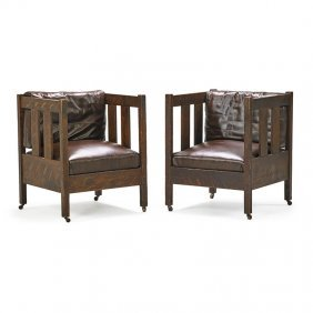 Arts & Crafts Pair Of Cube Chairs