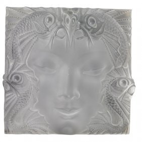 "Lalique ""masque De Femme"" Glass Panel"