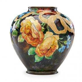 Camille Faure Enameled Brass Vase