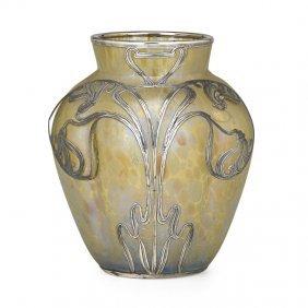 Loetz Papillon Vase With Silver Overlay