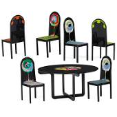BJORN WIINBLAD Dining table and six chairs