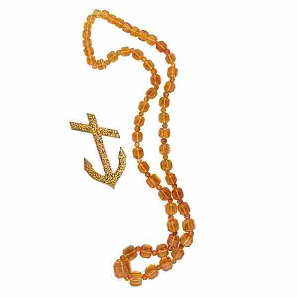 FACETED CITRINE BEAD NECKLACE & DAMASCENE BROOCH