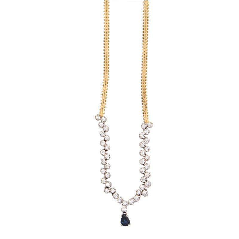 DIAMOND, SAPPHIRE & YELLOW GOLD NECKLACE