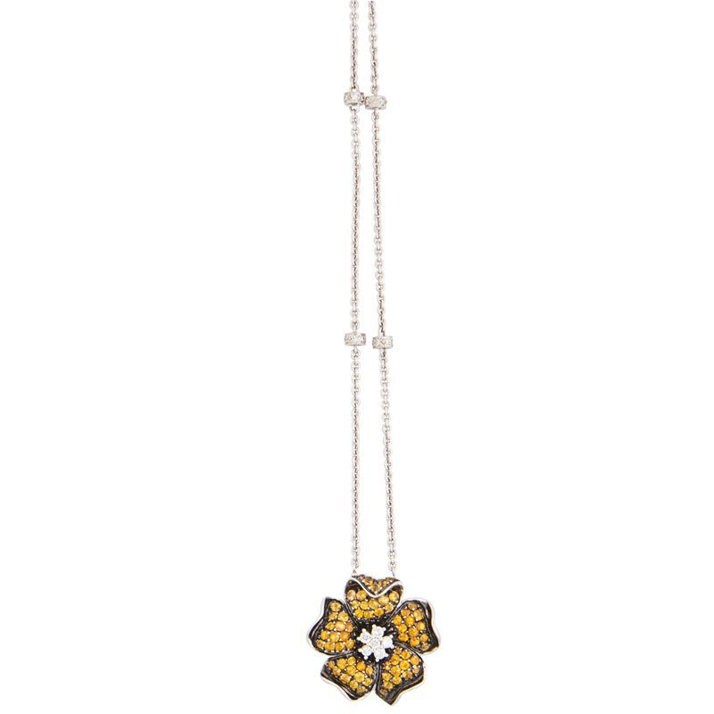 YELLOW SAPPHIRE, DIAMOND & WHITE GOLD FLOWER NECKLACE