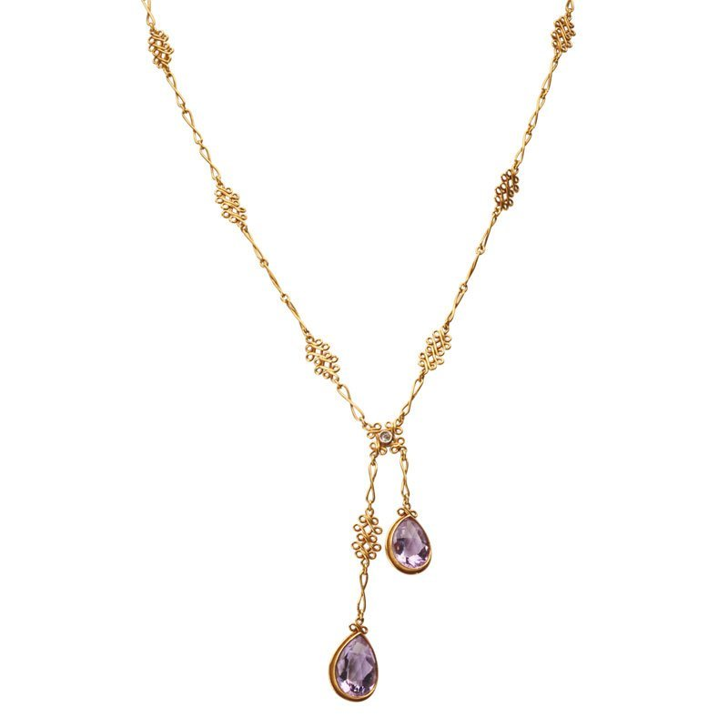 EDWARDIAN AMETHYST YELLOW GOLD NEGLIGEE NECKLACE